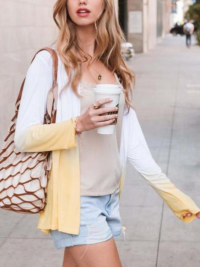 Women long sleeve Gradient cardigan coats