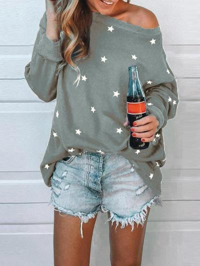 One off shoulder star printed women T-shirts