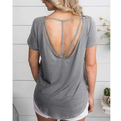 Loose Round neck Short sleeve Backless T-Shirts