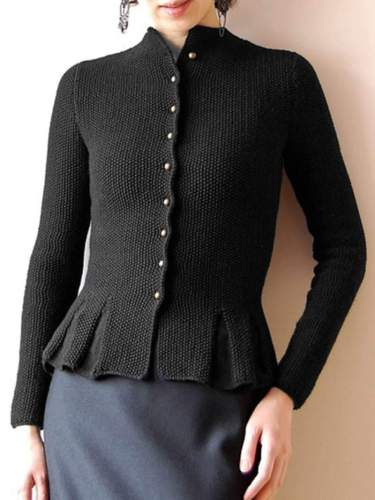 Casaul Pure Knit Fastener  Sweaters
