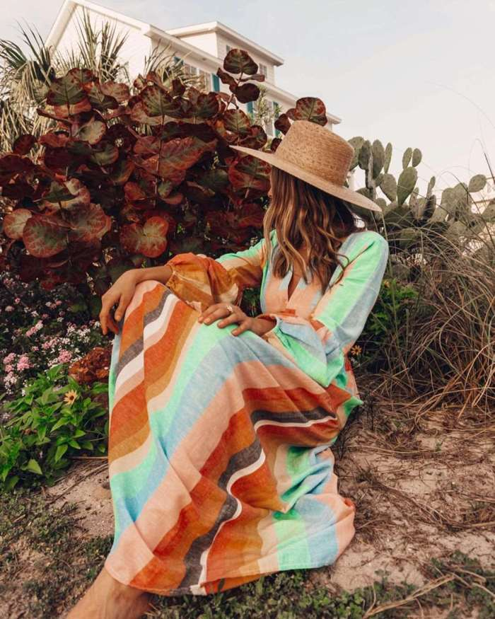 Fashion Casual Stripe Gored V neck Long sleeve Lacing Maxi Dresses