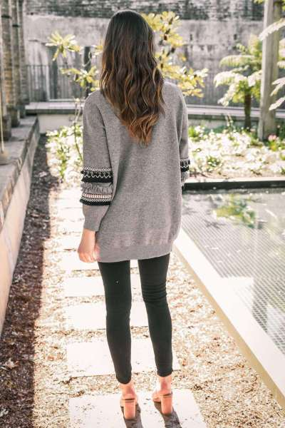 Fashion Gored Print Long sleeve Knit Cardigan