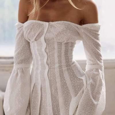 Pure Off shoulder Long sleeve Skater Dresses