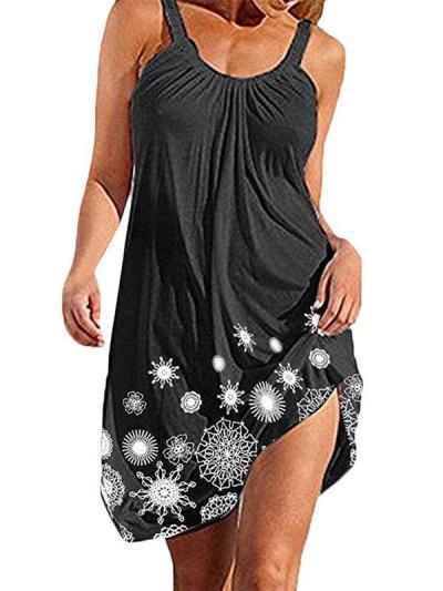 Loose plus-size floral printed strap Shift Dresses