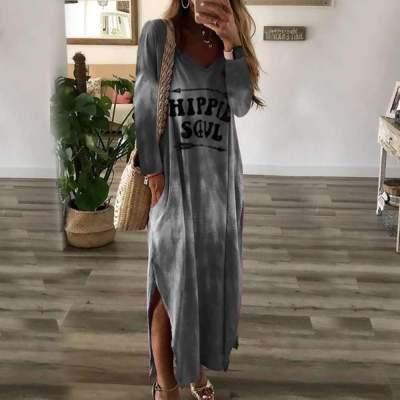 Casual Plus Print V neck Vent  Maxi Dresses