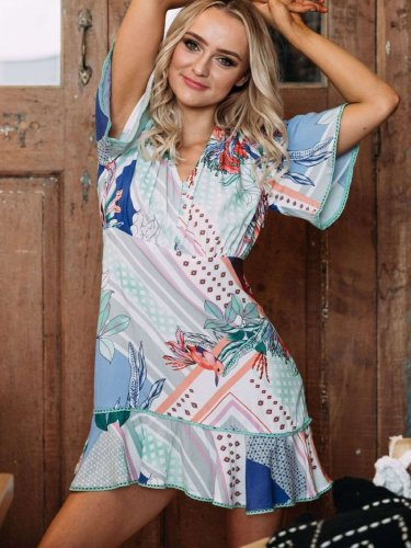 Casual Loose V neck Print Shift Dresses