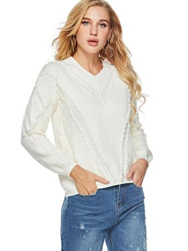 New Women Knit V neck Sweaters