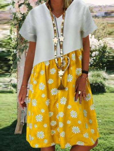 Casual Loose Print Gored Short sleeve V neck Shift Dresses