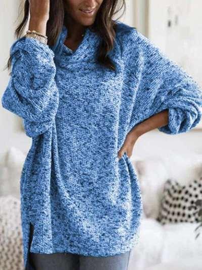 Pure High collar Long sleeve Irregular Knit Sweaters