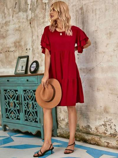 Casual Loose Pure Round neck Gored Falbala Shift Dresses
