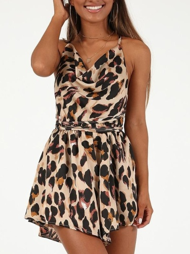 Sexy Backless Vest Leopard Jumpsuits