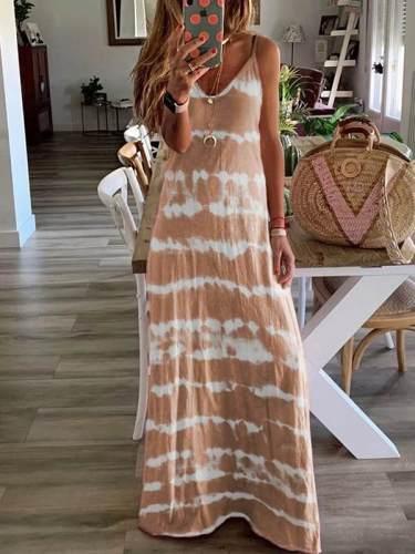 Loose printed halter long maxi dresses