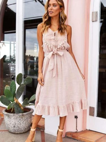 Fashion V neck Sleeveless Lacing Purl Maxi Dresses