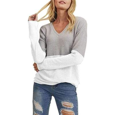 Fashion Gored V neck Long sleeve Knit Sweaters