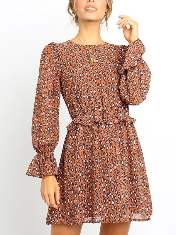 Women round neck stylish leopard printed chic skater dresses