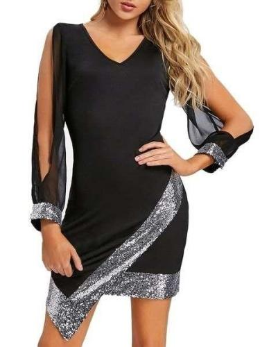 Fashion Cutout Long sleeve Gored Bodycon Dresses