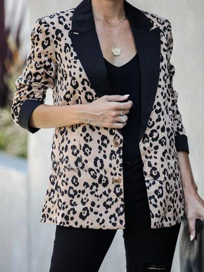 Turn down collar leopard printed long sleeve blazers
