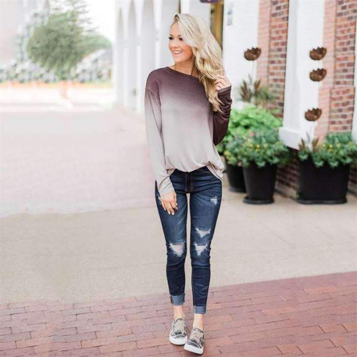 Casual Round neck Long sleeve T-Shirts