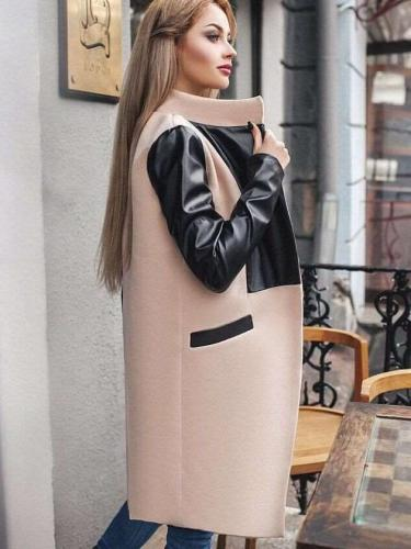 Fashion Gored  Tee Stand collar Trench Coats
