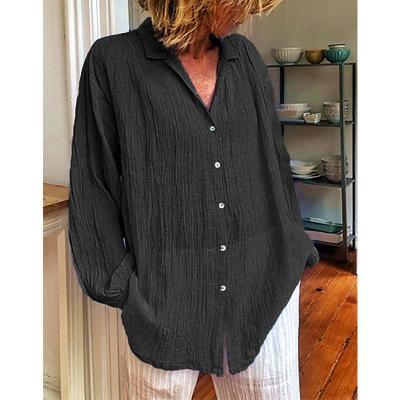 V-Neck Long Sleeve Solid Women Blouse