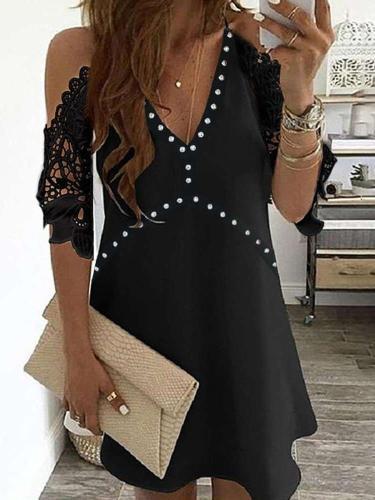Sexy Lace Off shoulder V neck Half sleeve Gored Shift Dresses
