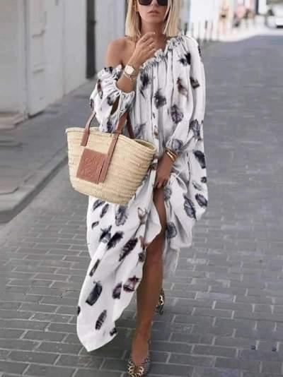 Loose Print Off shoulder Long sleeve Falbala Maxi Dresses