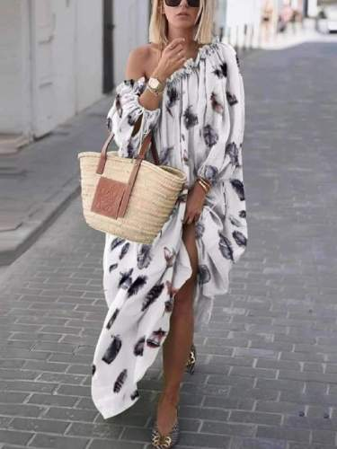 Loose Print Off shoulder Long sleeve Falbala Maxi Dresses