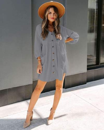 Fashion Casual Loose Pure V neck Fastener Pocket Knit Shift Dresses