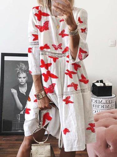 Fashion lace cotton women round neck loose shift dresses