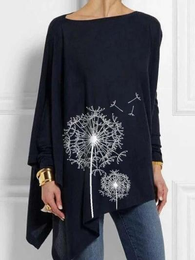 Floral Printed round neck long sleeve irregular hem women T-shirts
