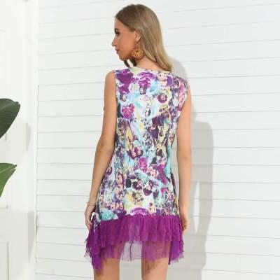 Fashion Casual Round neck Vest Sleeveless Gored Shift Dresses