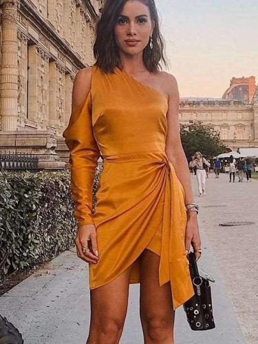 Fashion Pure Single Long sleeve Skater Dresses