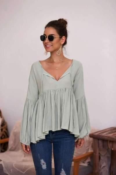 Fashion Pure V neck Puff sleeve T-Shirts