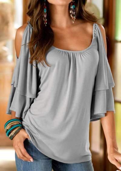Casual Pure Off shoulder Round neck Half sleeve T-Shirts