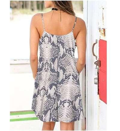 Fashion Casual Print V neck Vest Shift Dresses