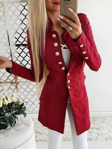 Fashion Stand collar Fastener Long Blazer