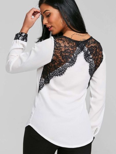 Fashion V neck Lace Long sleeve T-Shirts