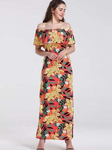 Off shoulder Floral Falbala Maxi Dresses