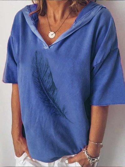 Casual Pure Print V neck Short sleeve Hoodies T-Shirts
