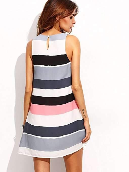Fashion Sleeveless Stripe Print Shift Dresses