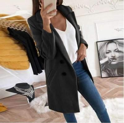 Fashion Pure Lapel Fastener Woolen overcoat