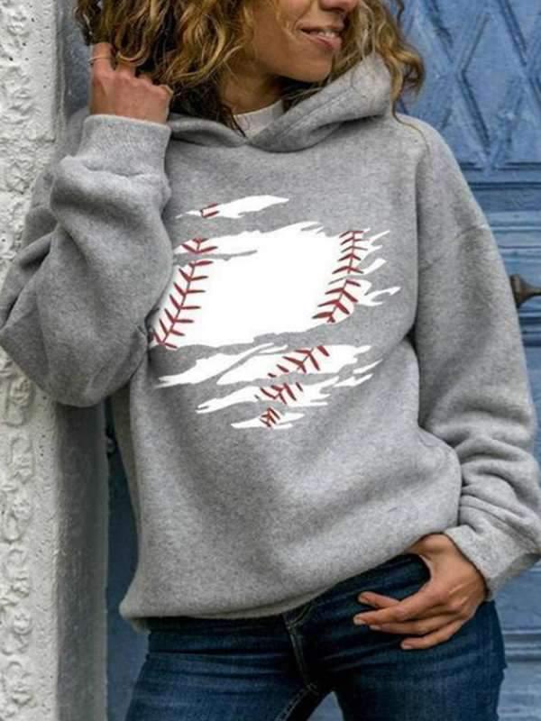 Printed round neck long sleeve hoodies