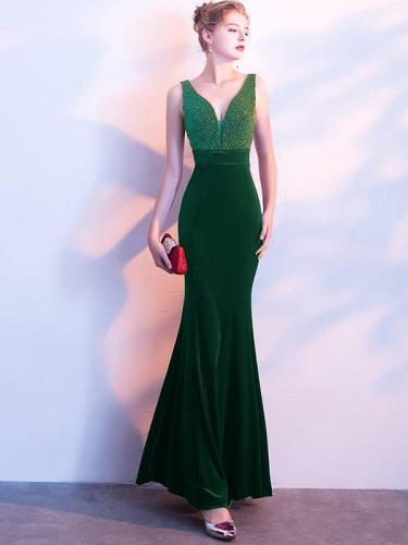 Elegant Velvet Sequined V-Neck Sheath Backless Party Dresses