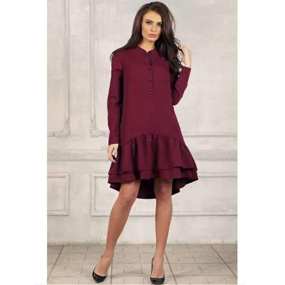 Casual Round neck Long sleeve Falbala Long sleeve Shift Dresses