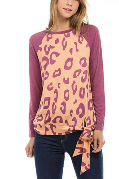 Fashion Round Collar Leopard Printed Blinding  Shirt