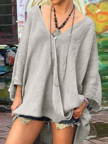 Casual Plus V neck Long sleeve Irregular T-Shirts