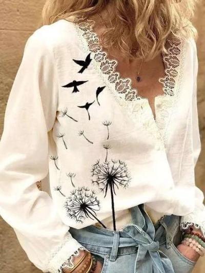 Fashion Lace Print V neck Long sleeve Blouses
