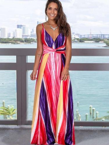 Fashion V neck Backless Vest Maxi Dresses