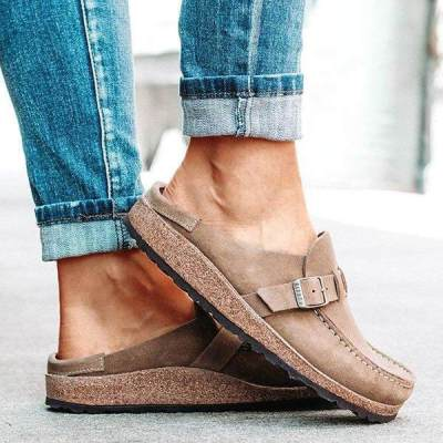 Women Casual Comfy Leather Slip On Sandals Shoes