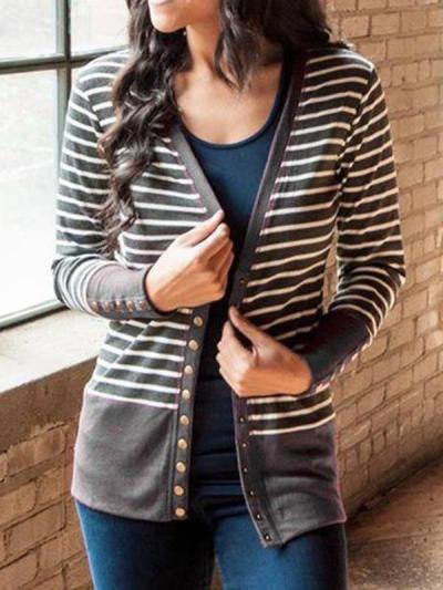 Striped printed patchwork long sleeve cardigan coats